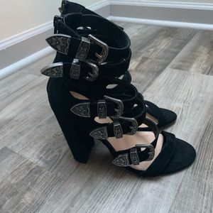 Mossimo Supply Co Black Buckle Heels Size 7